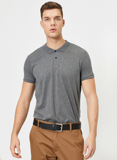 Koton Süs Etiket Detaylı Slim Fit Polo Yaka T-Shirt Gri